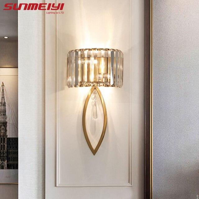 高級壁ランプを主導リビングルーム浴室廊下階段ロフトランプ現代の寝室クリスタルウォールライトspecchioダparete