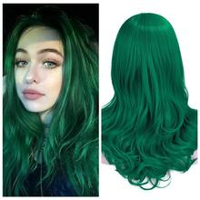 Wignee Long Green Wavy Middle Part Wig Synthetic Wigs for Women Daily/Party/Cosplay Heat Resistant Natural Glueless False Hair