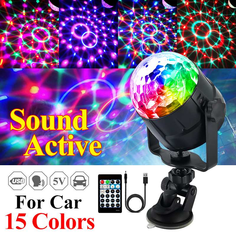 Sound Activated Rotating Disco Ball Party Lights Strobe Light 5W RGB LED Lights For Car Christmas Home KTV Wedding Show
