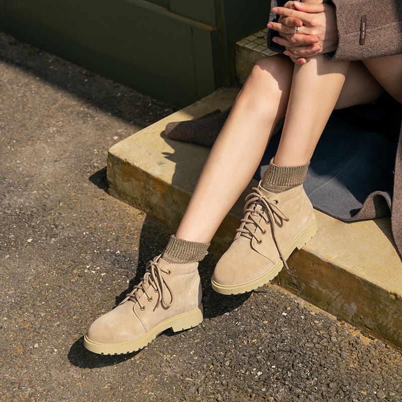BeauToday yarım çizmeler kadın inek süet yün iplik yuvarlak ayak dantel-up sonbahar kış bayan moda çöl botları el yapımı 03432