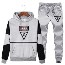 5XL Autumn Men Sportswear Tracksuit Fleece Printed Hooded Hoodie Sweatshirt+pant Running Jogging Fitness casual Set Sport Suit