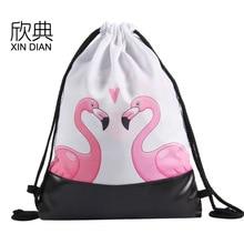 Amazon new PU leather bottom beam of pocket spring 2019 flamingos flamingo draw string bag backpack