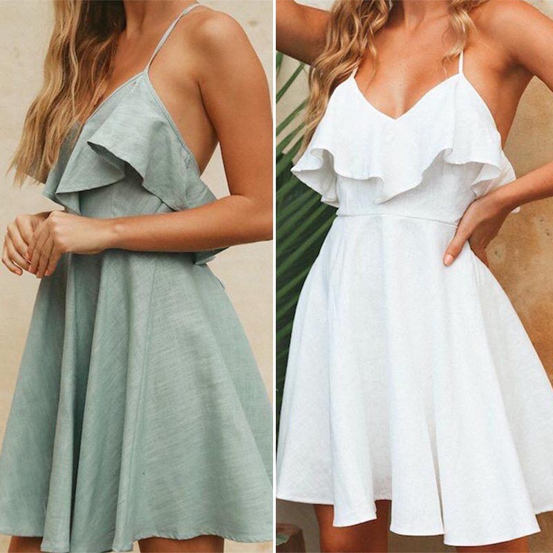 Elegant ruffle off shoulder strap summer <font><b>sexy</b></font> <font><b>pink</b></font> <font><b>dress</b></font> <font><b>women</b></font> Casual chiffon pleated <font><b>blue</b></font> <font><b>dress</b></font> Loose holiday short <font><b>dress</b></font> image