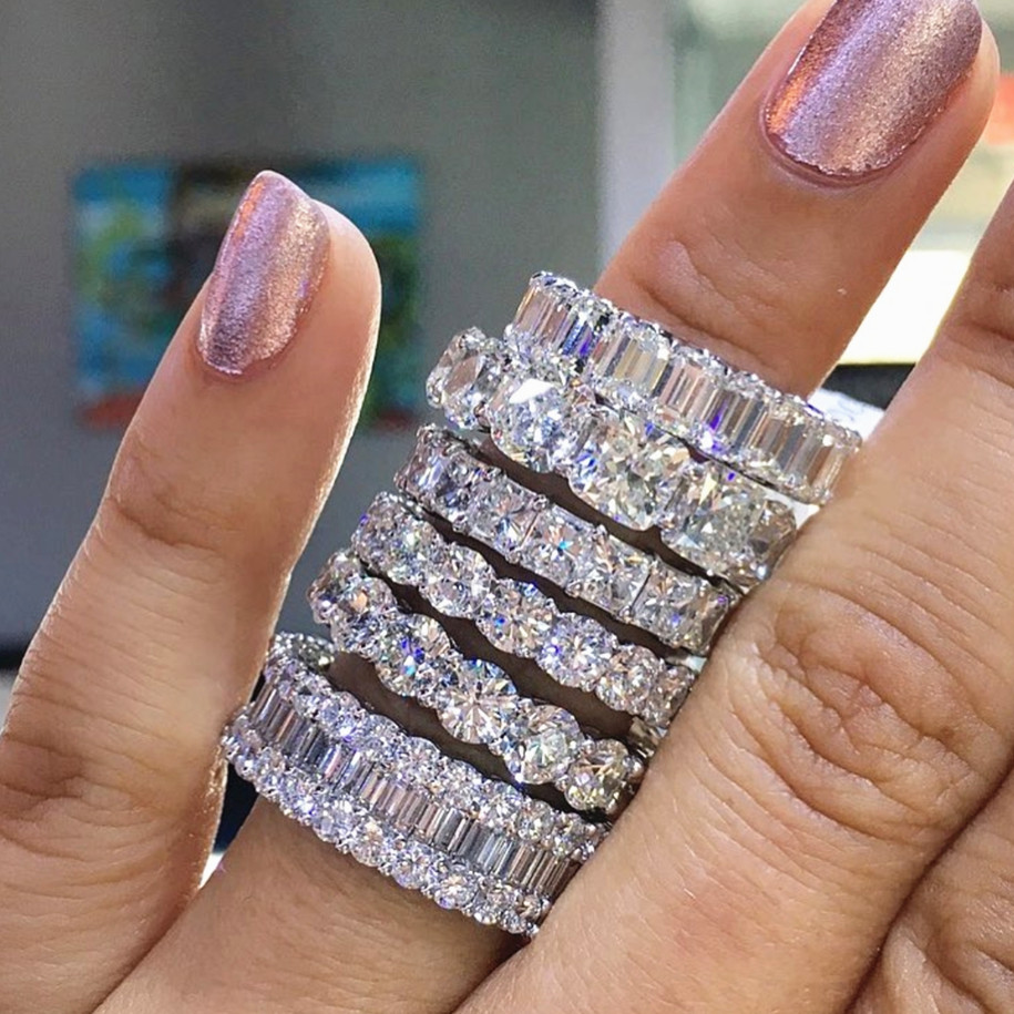 Luxury 925 Sterling Silver Wedding Band Eternity Ring For Women Ladies Big Finger Party Anniversary Gift Lots Bulk Jewelry R4577