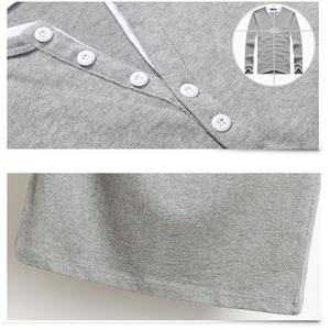 Image 4 - 2020 秋男性tシャツボタンビッグトール綿長袖tシャツ男性ビッグサイズカジュアルtシャツ固体 5xl 6xlフィットtシャツトップ男性