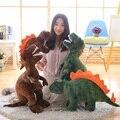 40 ~ 110 см рот открытый тираннозавр T-Rex Triceratops Мягкая кукла динозавр Реалистичная печать зеленый коричневый серый стоячий динозавр подарок