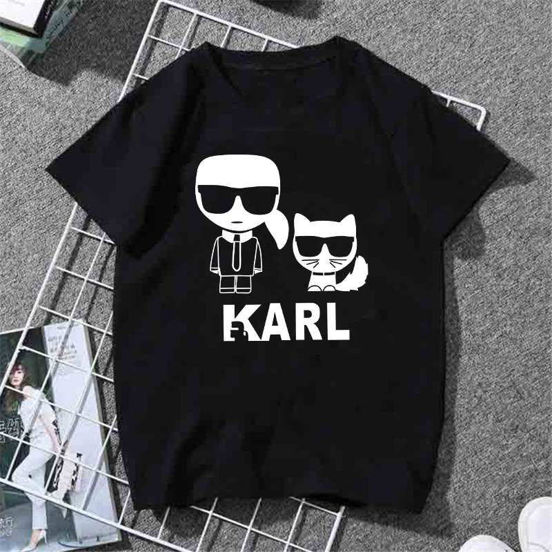 WVIOCE Karl Lagerfeld T Shirt Woman Tshirt Cartoon Graphic Printed Ladies T Shirt Hip Hop Women Shirts Summer Streetwear Tops