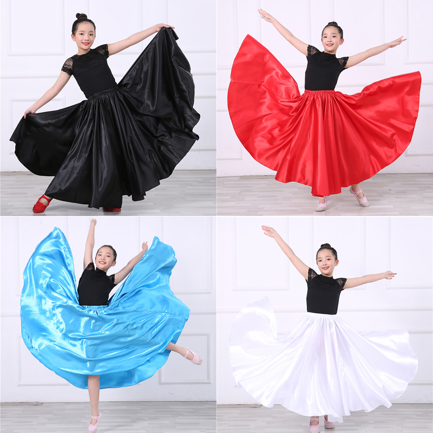 Satin Silk Smooth Gypsy Children Girls Flamenco Dance Skirt Oriental India Bellydancing Clothes Spanish Ballroom Costumes