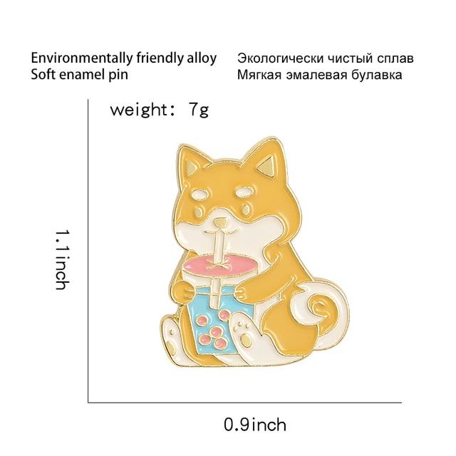Bulle thé chien émail épingles dessin animé Akita chiot Boba lait thé boisson nourriture bijoux broches animaux amoureux Badges épinglettes