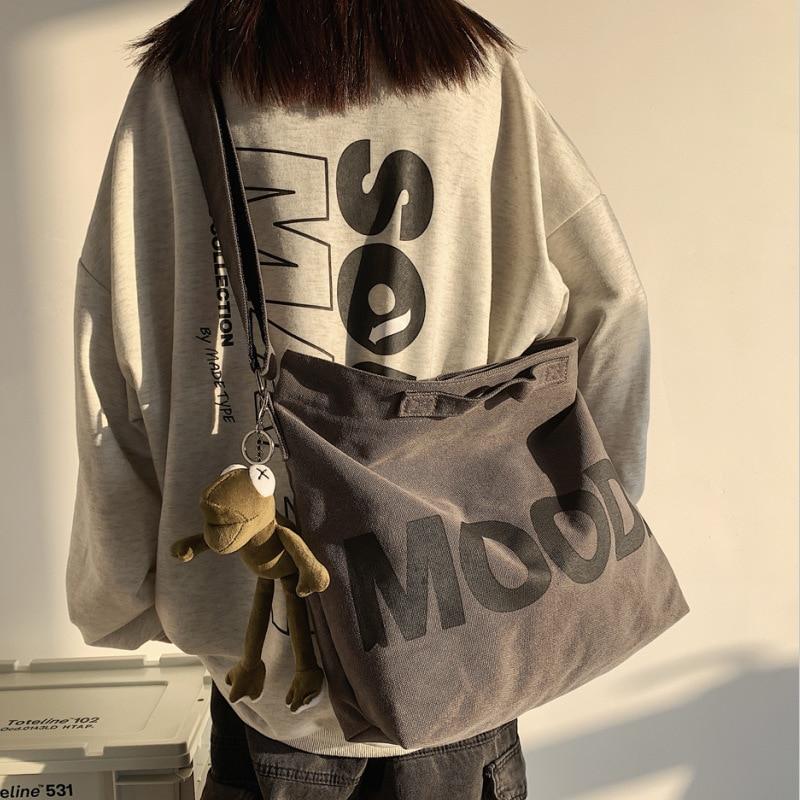 Холщовая женская сумка-мессенджер, винтажный большой ранец на плечо в стиле Харадзюку, Модный Большой Студенческий портфель через плечо в с...