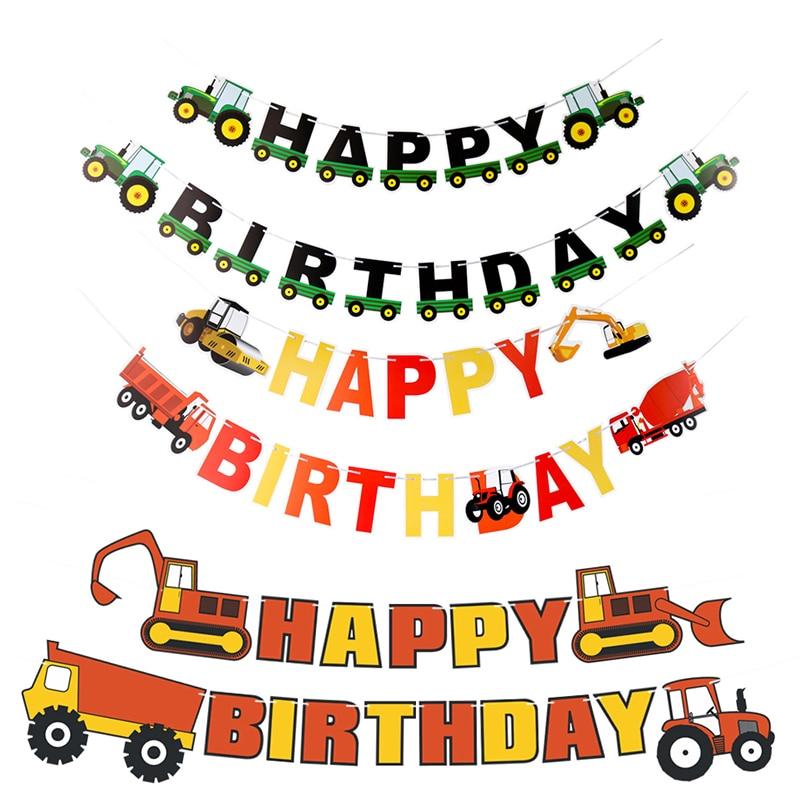 Баннер с днем рождения, сельскохозяйственная тема, трактор, кекс, Toppers, строительный автомобиль, гирлянда, украшение на день рождения, вечери...