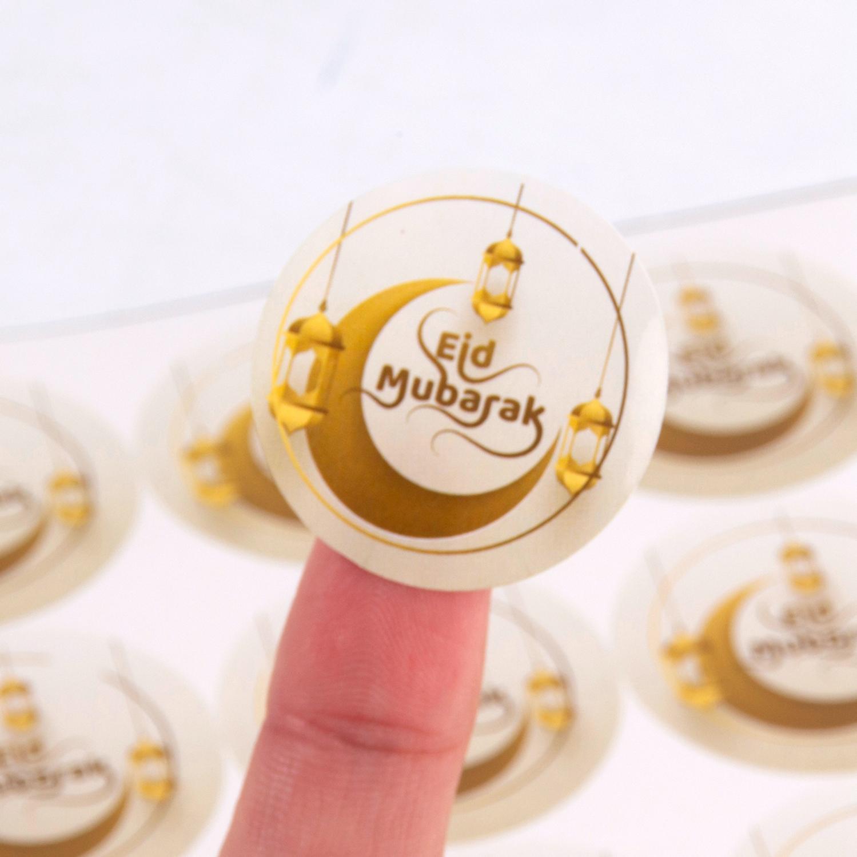 Huiran 60pcs Eid Mubarak Decoration Paper Sticker Lable Seal Gift Sticker Islamic Muslim Mubarak Decoration Eid Al Adha Supplies