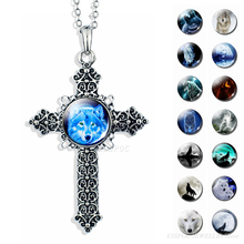 Full Moon White Wolf Animal Necklace Metal Cross Christian Jesus Pendant Glass Cabochon Jewelry Necklaces Gifts