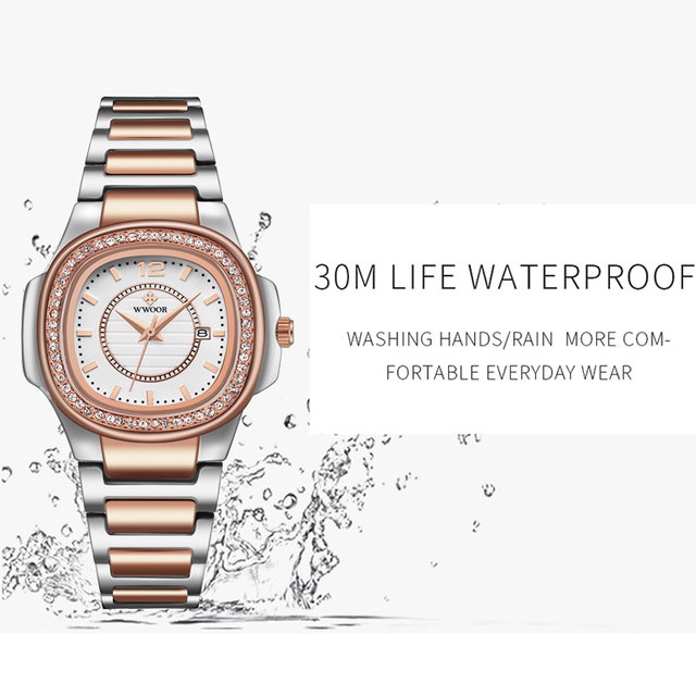 Luxury Rose Gold Watch Women WWOOR Fashion Brand Diamond Ladies Quartz Wrist Watch Female Stainless Steel Waterproof Date Watch