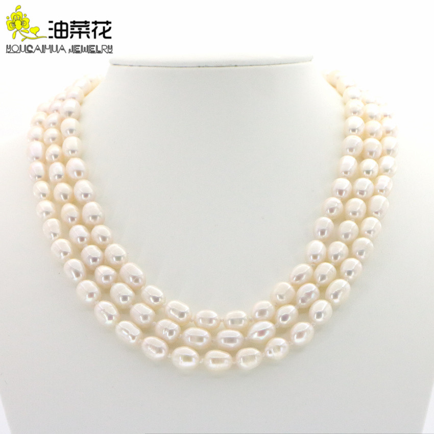 """7-8mm Natural White Akoya Freshwater Pearl 4mm Black Agate Necklace 18/""""AAA"""