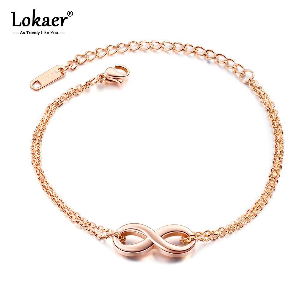 Женский браслет-цепочка Lokaer, браслет из титановой нержавеющей стали с подвеской «бесконечность», розовое золото, богемный стиль, B17086