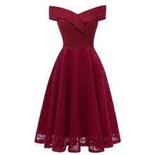 Womens Dress Solid Color Short Sleeve Slash Neck Lace Aline