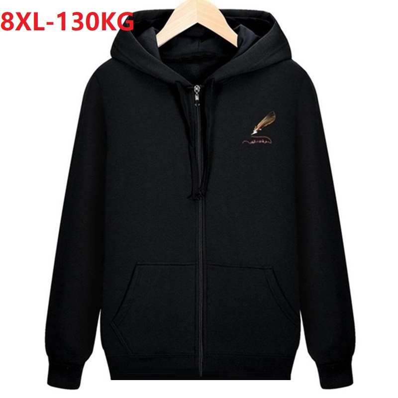 autumn men fleece warm Hoodies zipper hooded Sweatshirts sportwear 8XL plus size cotton sports oversize loose coat hoody cotton