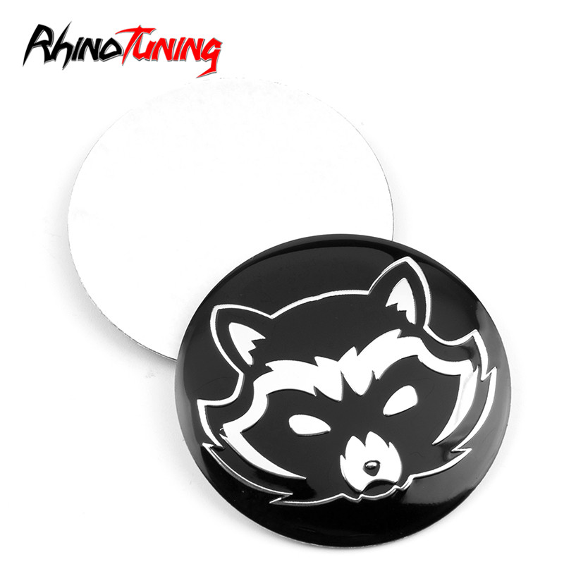 1pc 56mm Wheel Center Hubcap Sticker Logo Curved Surface Raccoon Pattern Badge Emblem Auto Styling Accessories For Car Rims