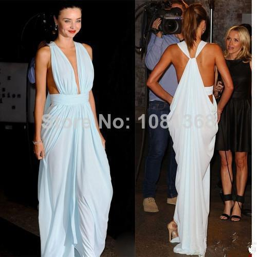 Free Shipping 2014 New Fashion Hot Sexy Backless Maxi Long Vestido De Chiffon V-neck Party Prom Gown Celebrity Evening Dresses
