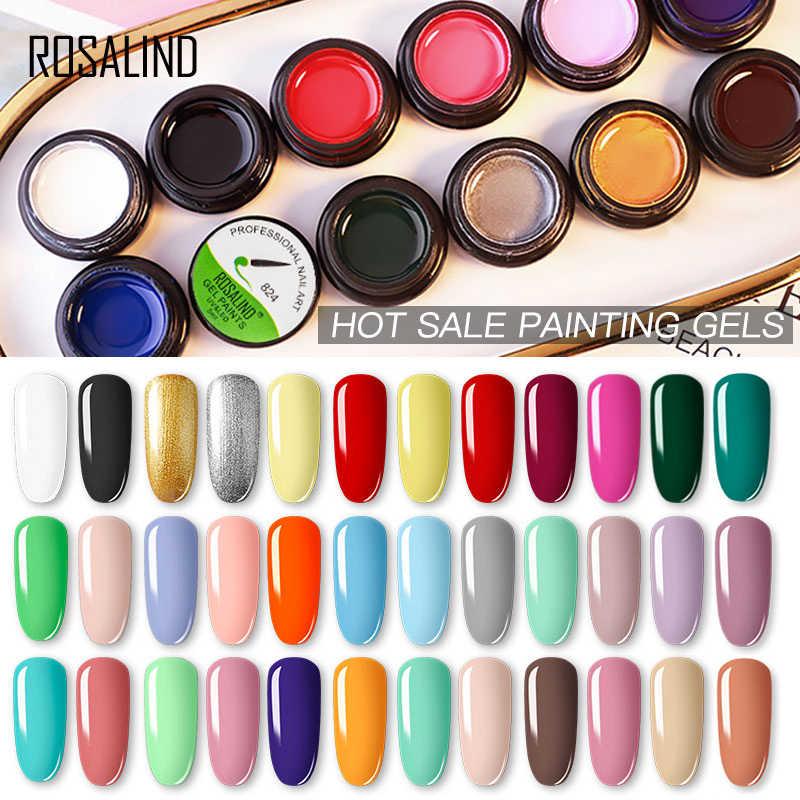 ROSALIND จิตรกรรมเจล HYBRID Primer เล็บสำหรับออกแบบ 142 สีทั้งหมดสำหรับ 5ML DIY เจลเคลือบด้านบน coat Nail Art