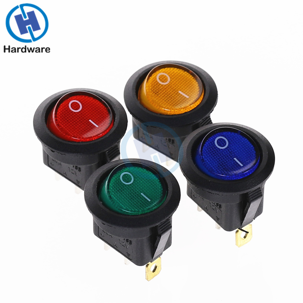4Pcs Car 220V Round Rocker Dot Boat LED Light Toggle Switch SPST ON/OFF Top Sales Electric Controls 12V KCD1