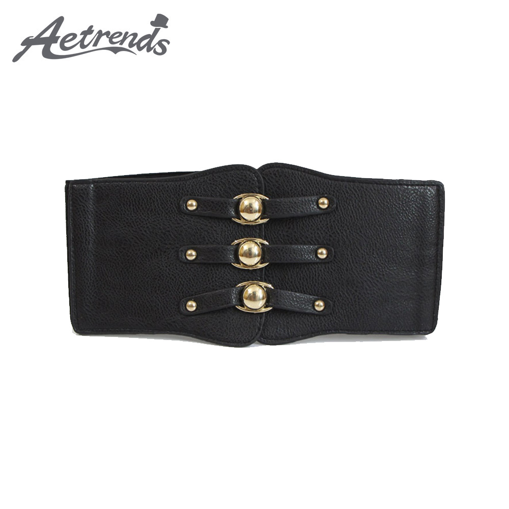 [AETRENDS] Women's Wide Elastic Waist Belt For Dresses Ladies Stretch Belts With Buckle Decoration D-0113