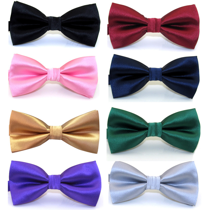 Silk Solid Pre-tied Bow Tie For Men Purple Black Yellow Adjustable Bow Ties Waterproof Wedding Business Party Bowtie Accessory