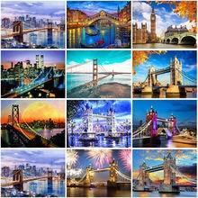 Diy 5d diamond painting scenery bridge embroidery landscape