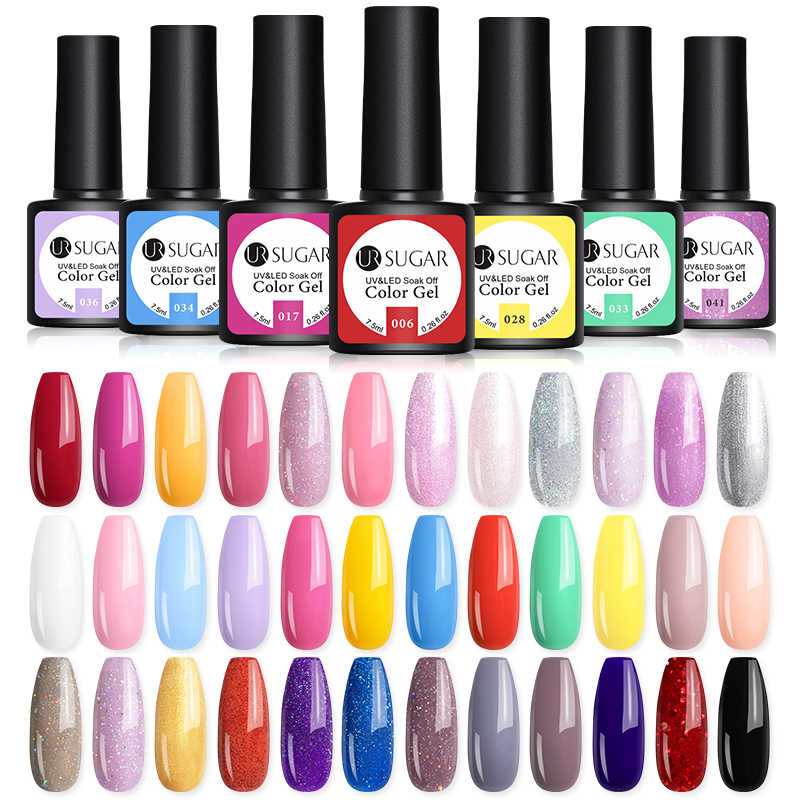 UR Gula 7.5 Ml Gel Nail Polish Warna Solid Glitter Semi Permanen Rendam Off UV LED Gel Nail Art Pernis 62 Warna