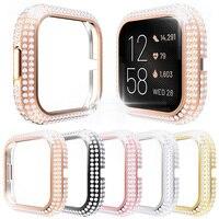 Funda protectora de diamantes de imitación para Fitbit Versa 2 3 Sense, funda para reloj, carcasa de PC dura ostentosa, Marco fino