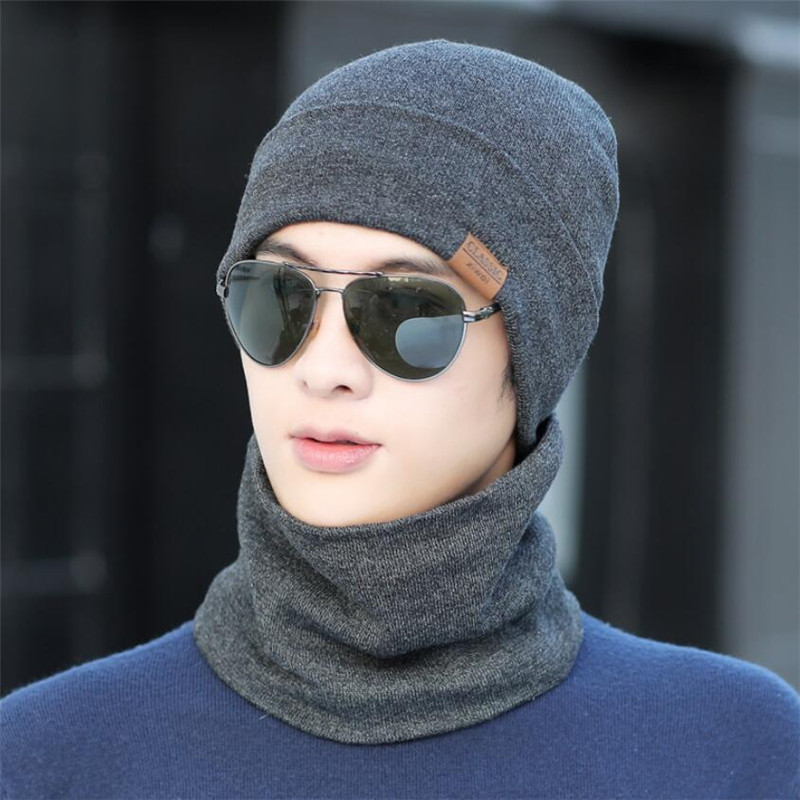 Winter Men Hat Scarf Man Warm Knitted Plush Hat 2 Peice Set Male Solid Beanies Cap And Ring Scarves Adult Accessories