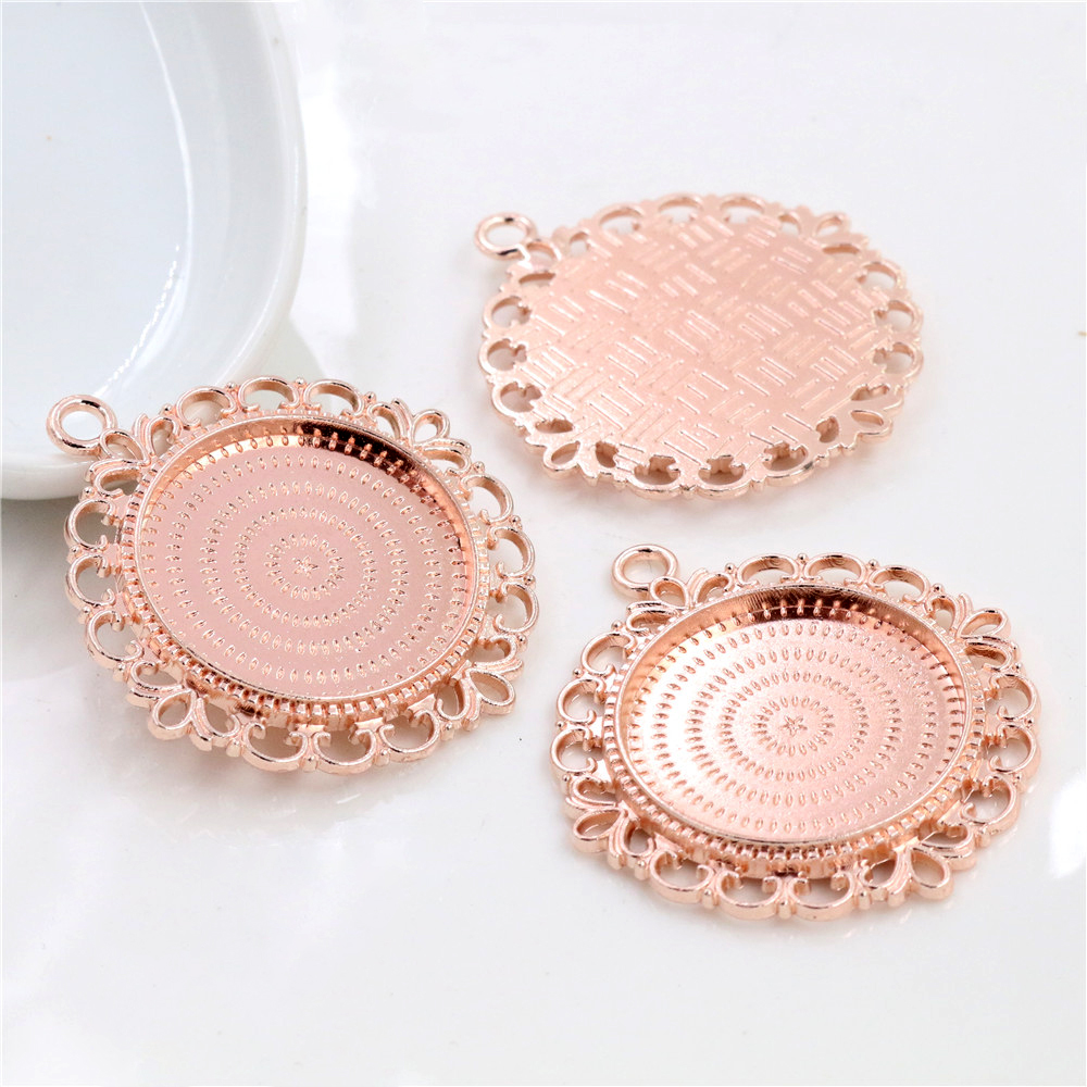 3pcs 25mm Inner Size High Quality Rose Gold Color Flower Style Cameo Base Setting Stars Style Pendant (A3-69)