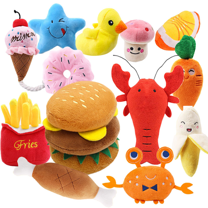Dog Toys Squeaky Toys Cute Food Bite-Resistant Clean Dog Chew Puppy Training Toy Soft Banana Carrot & Vegetable Dog Accessories