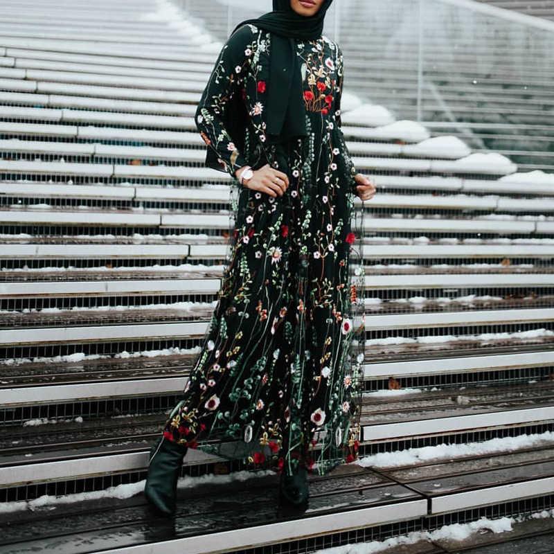 زهري عباية دبي التركية فستان مسلم عبايات للنساء مساء الحجاب Dresse قفطان قفطان رداء الإسلام ملابس Tesettur Elbise