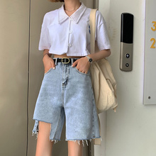 2019 Plus Size Capris Jeans For Women Summer Denim Shorts Jean Hole Knee Length Blue Lady Mini Pants