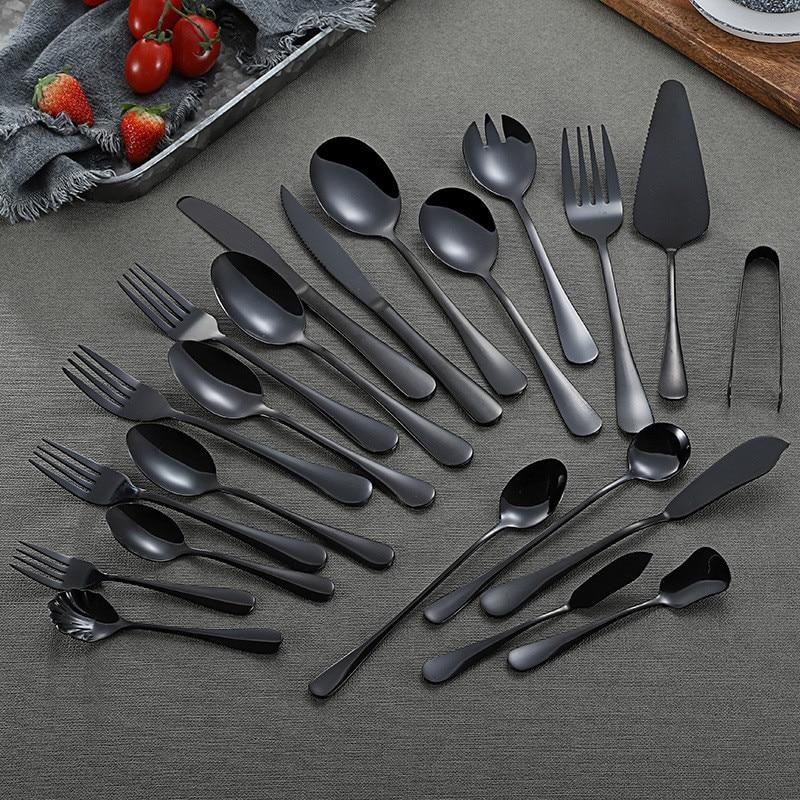 Juego de cubiertos de acero inoxidable con espejo, juego de cocina negro, vajilla, cuchara y tenedor, conjunto de vajilla para cena, cubiertos para el hogar