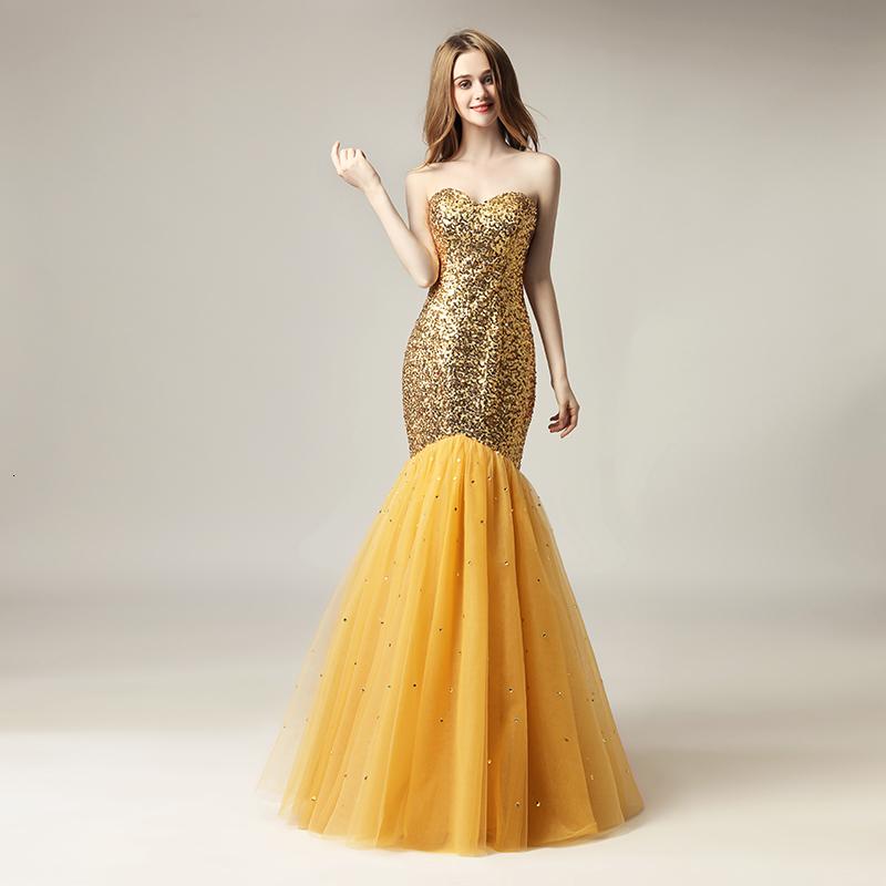 2020 Cheap Sparkly Mermaid Formal Party Wear Sexy Prom Evening Dresses Sequined Gold Floor Length Plus Size