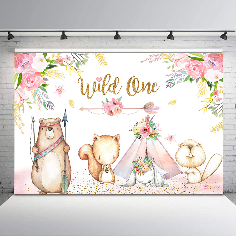 Wild One Backdrop Pink Watercolor Flower Baby Shower Photography Background Woodland Animal Tent 1st Birthday Banner Backdrops