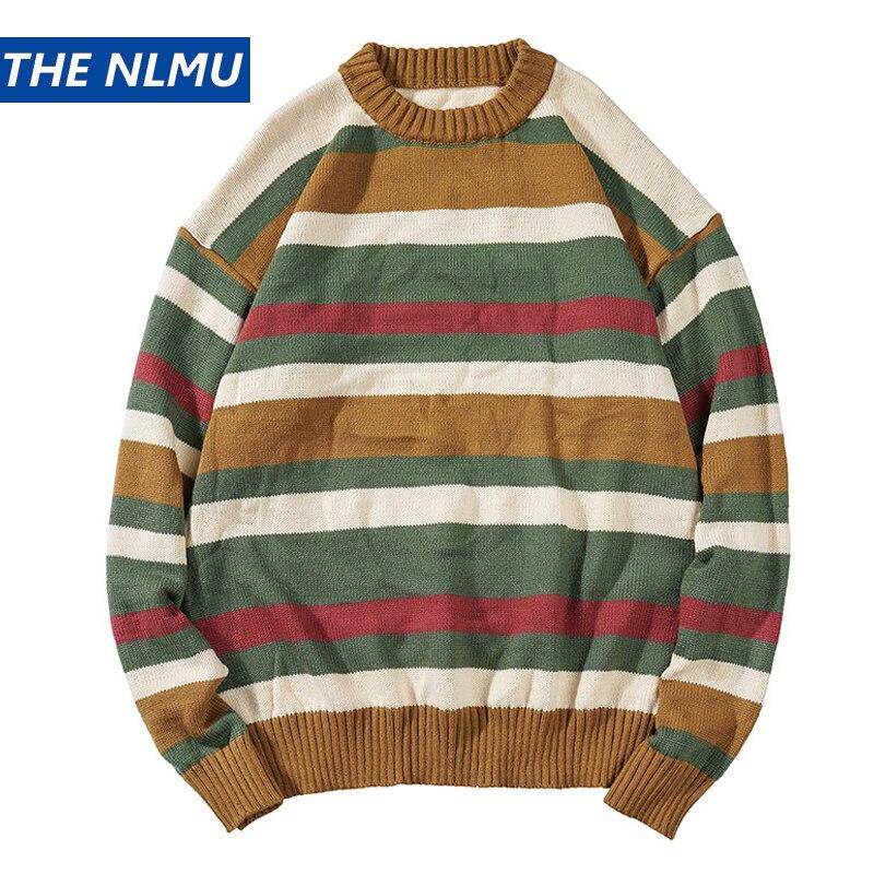 2019 Fashion Japanese Style Stripe Sweaters Men Harajuku Pullover Stripes Male Streetwear Sweater Loose O-neck Autumn DG454