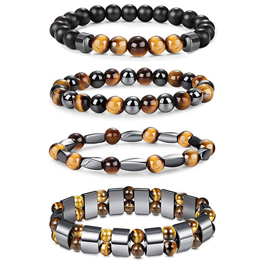 Natural Tiger Eye Hematite Men Bracelets Set Magnetic Health Protection Balance Beads Bracelets Women Reiki Healing Jewelry Gift