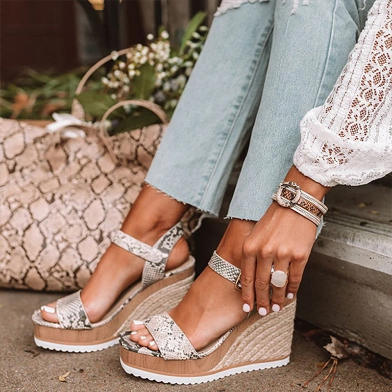 Women Sandals 2020 Dropshipping Wedges Shoes High Heels Casual Platform Print Comfortable Summer Ankle-strap Shoes Woman Sandals