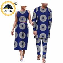 African Couples Clothes for Women African Ankara Print Crop Top and Pants Sets Bazin Riche Women Suit and Men Suits A19C001(China)
