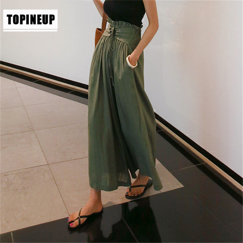 Tunic High Waist Women   Wide     Leg     Pants   Lace Up Trousers Large Size Summer Fashion Female 2019 Solid Color