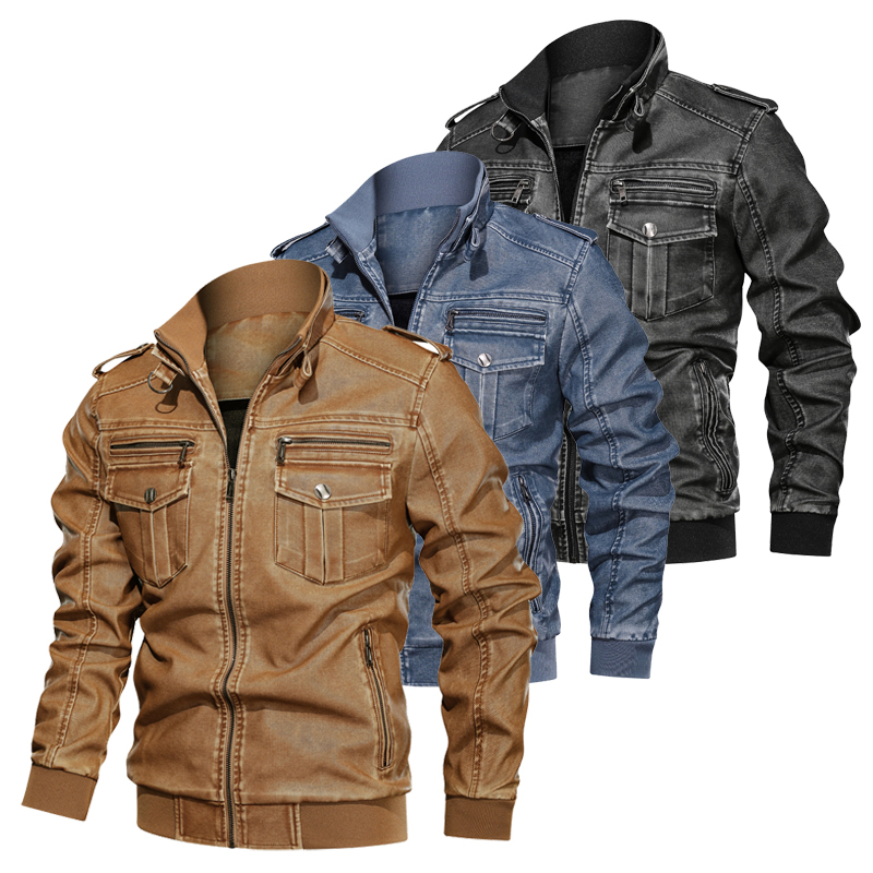 Men Jackets Coat Autumn Winter Warm Leather Jackets PU  Sportswear Military Tactical Jackets Men Pilot Coat Army Men's Coats