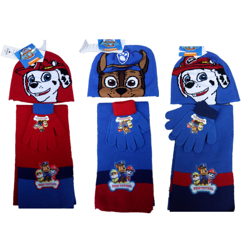 3pcs/set Paw Patrol Scarf Gloves Hat Set Keep Warm Christmas Birthday Gift Knitting Weaving Winter Must Lovely Action Figure