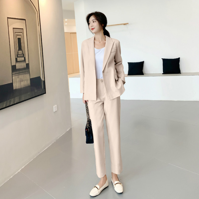 Professional Ladies Suit Pants New Casual Slim Solid Color Women's Jacket Blazer Female Office Suit Two-piece Suit High Quality