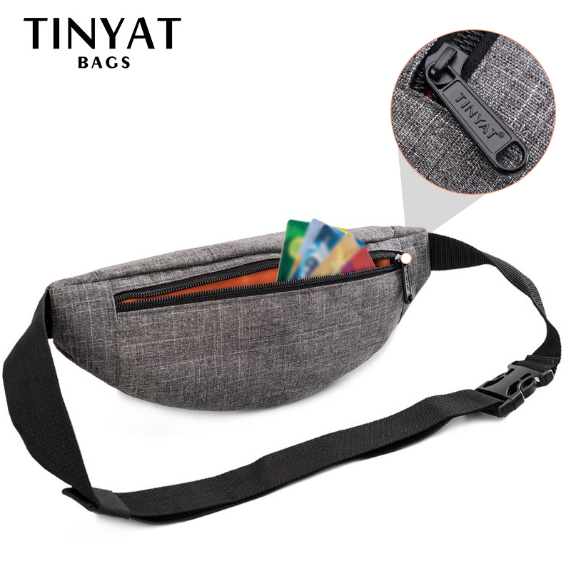 TINYAT Male Men Waist Bag Pack Casual Functional Money Phone Belt Bag T201 Gray Black Women Bag For Belt Canvas Hip Bag Fanny