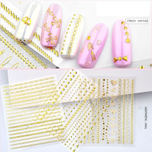 1pcs Gold Bronzing 3D decal chain zipper metal love Nail Art Sticker back glueDecal Tool Manicure Foil  Nails Accessories