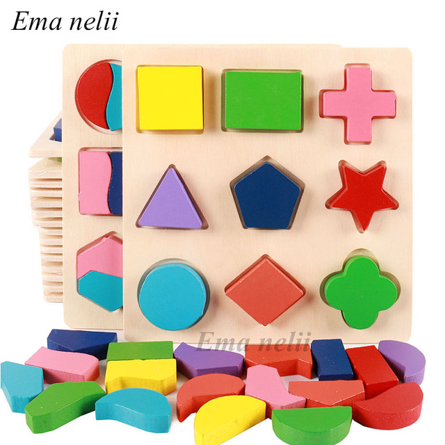 Geometric Shape and Color Matching Toys Wooden 3D Puzzles Baby Early Educational Learning Toy for Children